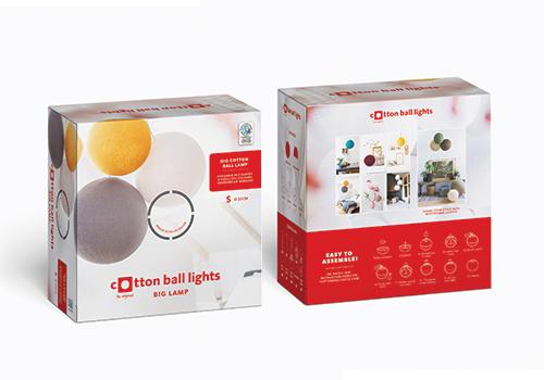 grafisch ontwerp voor drukwerk, verpakkingen cotton ball lights